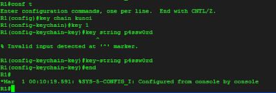 konfigurasi key chain, key dan key string pada R1