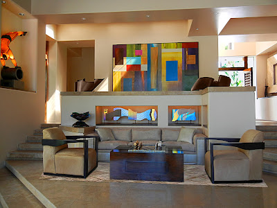 abstract wall painting and decorations in various colors create a trendy home interior