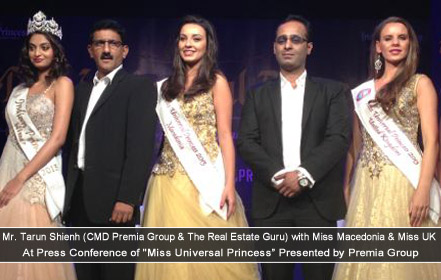 Mr. Tarun Shienh with Miss UK and Miss Marcedonia at Miss Universal Princess 2013