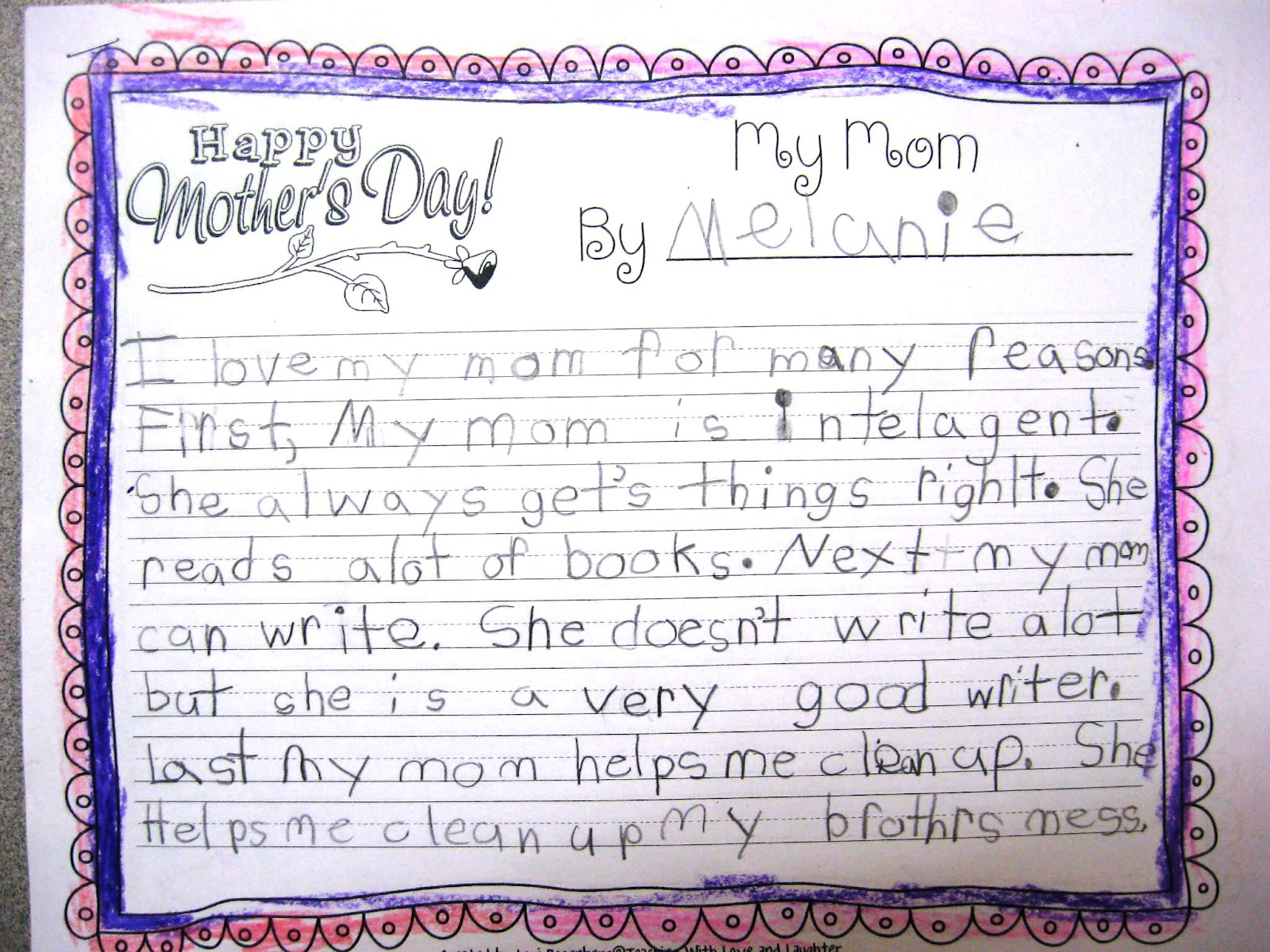 essay mom teaching love and laughter mother s day writing and two  teaching love and laughter mother s day writing and two i conferenced each child while they describe your mom essay quality academic writing service