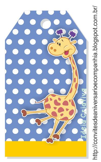Etiqueta Girafa Galinha Pintadinha para Imprimir Grátis