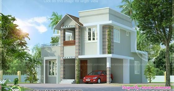 Small cute villa in 1354 square feet kerala home design for Small villa design plan