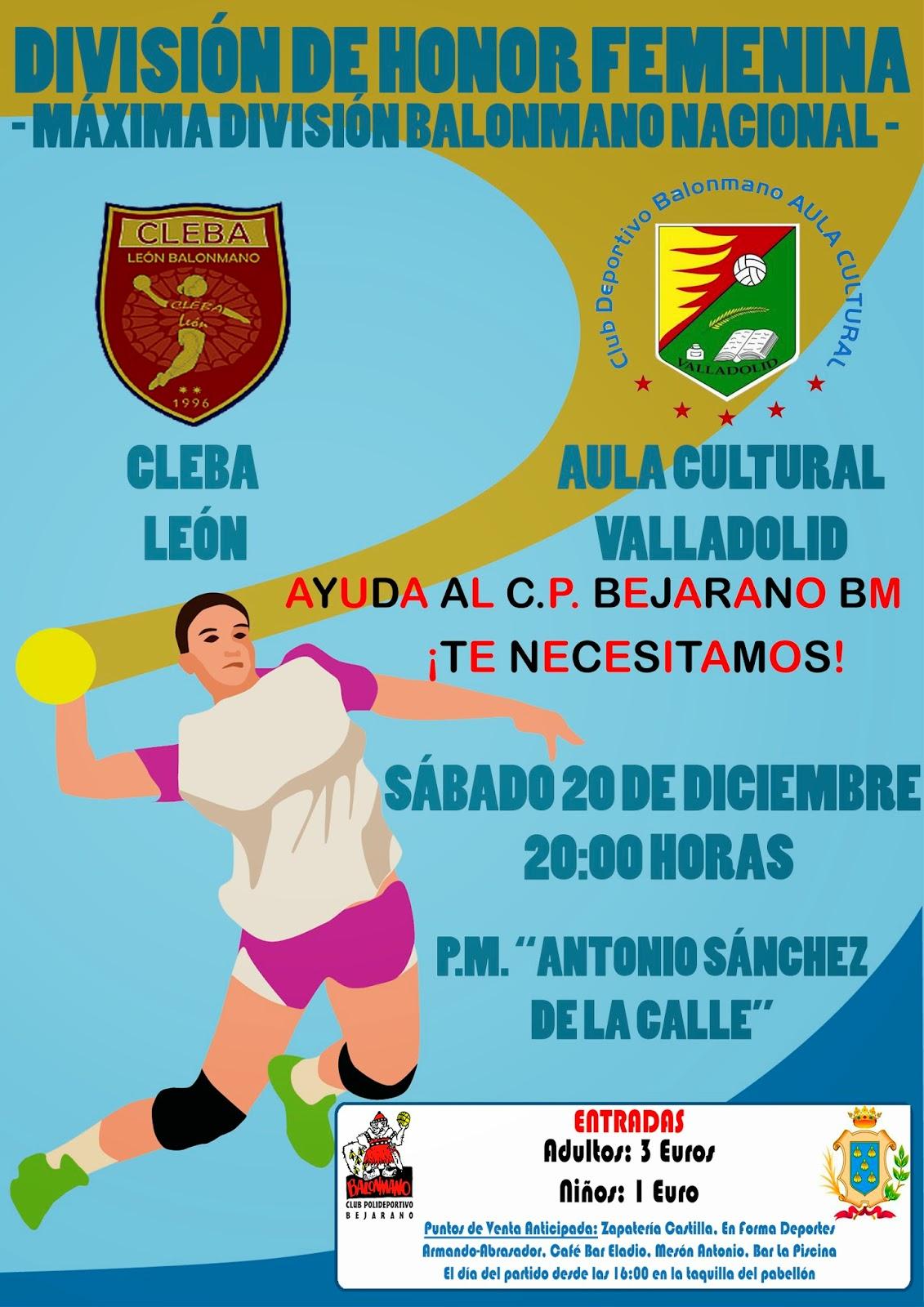 Cartel División de honor femenina de balonmano en Béjar