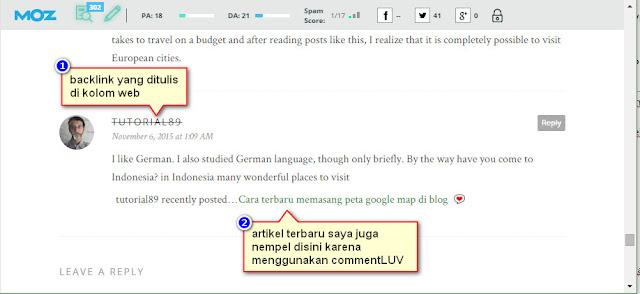 Cara mendapatkan backlink dari comment Luv