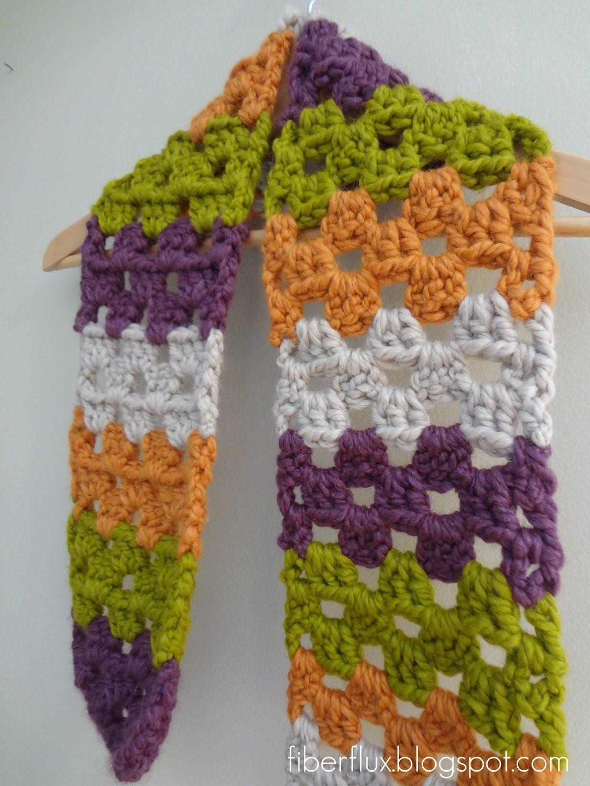 Fiber Flux: Free Crochet Pattern...Scrap Love Scarf