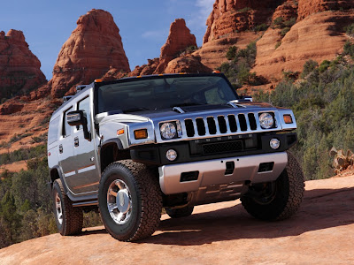 Hummer on top of the mountain