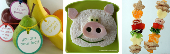 Fun lunch ideas for kids, including printable fruit labels, animal sandwiches, and sandwich kabobs