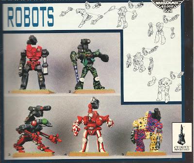 Miniaturas de los 5 Robots Imperiales de la Legio Cybernética