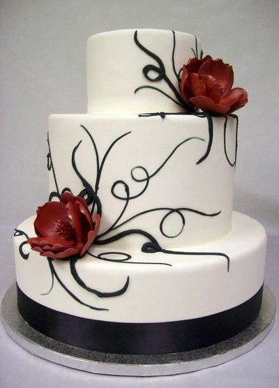 Most wedding cakes for you: Red black and white wedding cakes