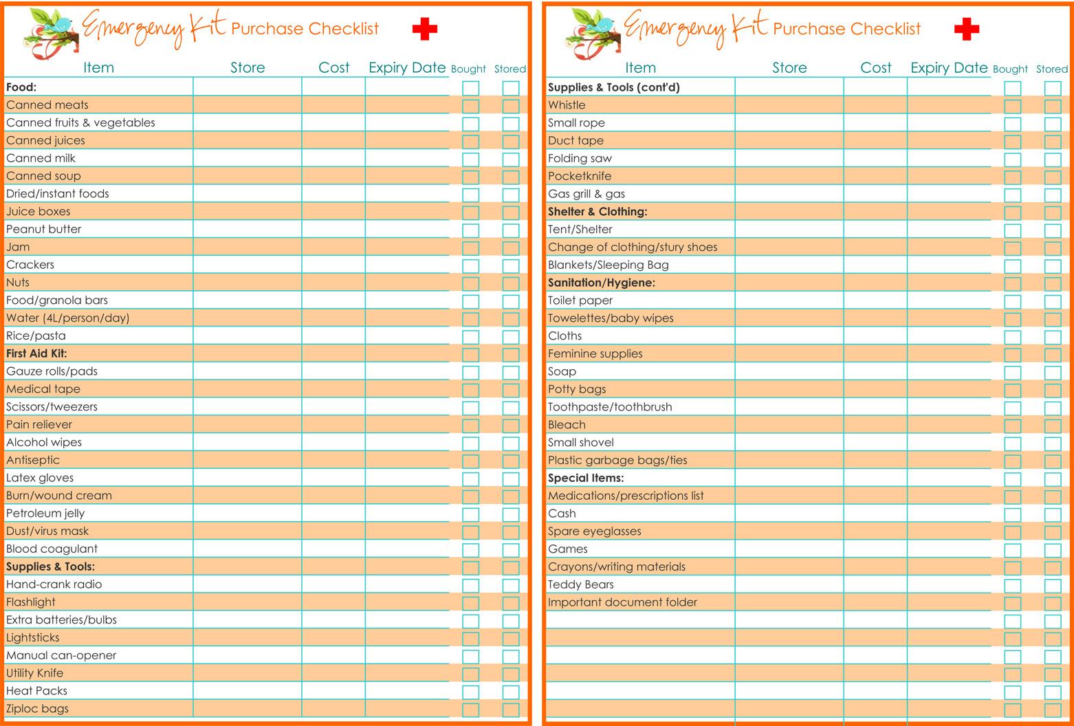 Family emergency preparedness kit list gold