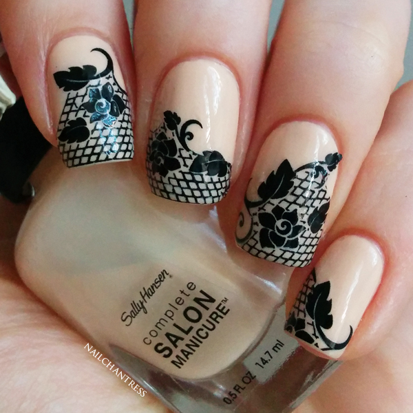 Nailchantress 31dc2014 Day 15 Delicate Print Black Lace Water Decals