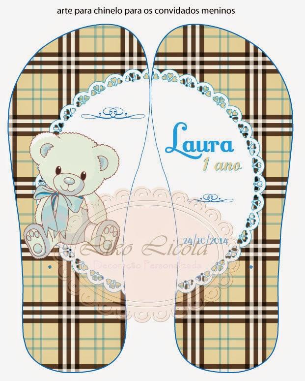 chinelos personalizados xadrez burberry e ursinho azul