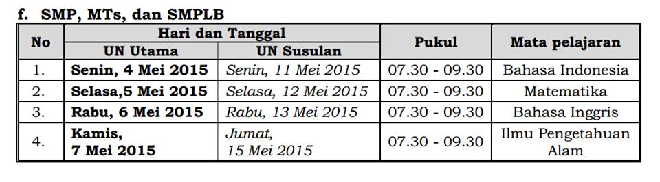 Jadwal UN SMP, MTs, dan SMPLB 2015 dan susulannya