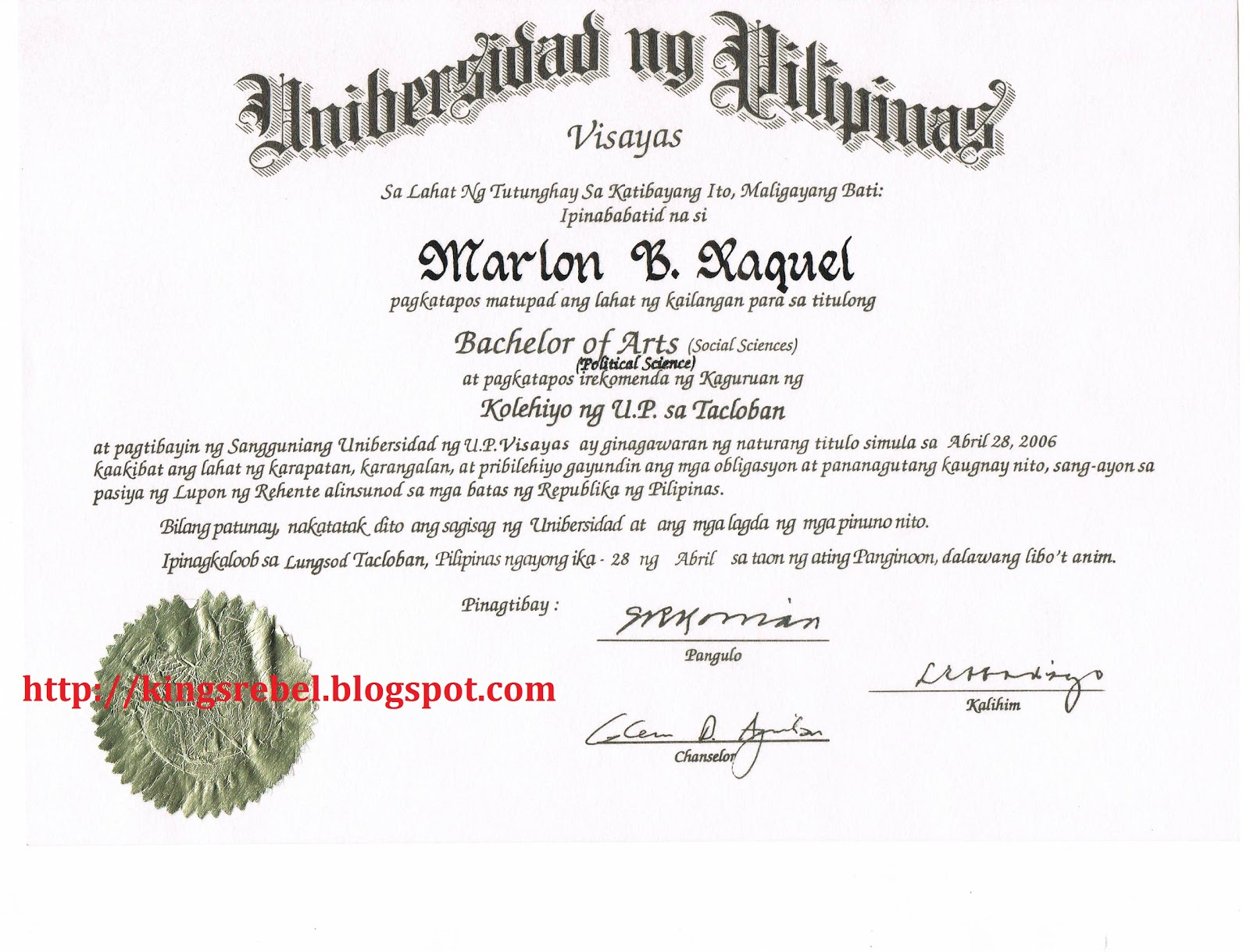 Example of certificate of appreciation for guest speaker sample tidbits and bytes example of college diploma university of the philippines yadclub Gallery