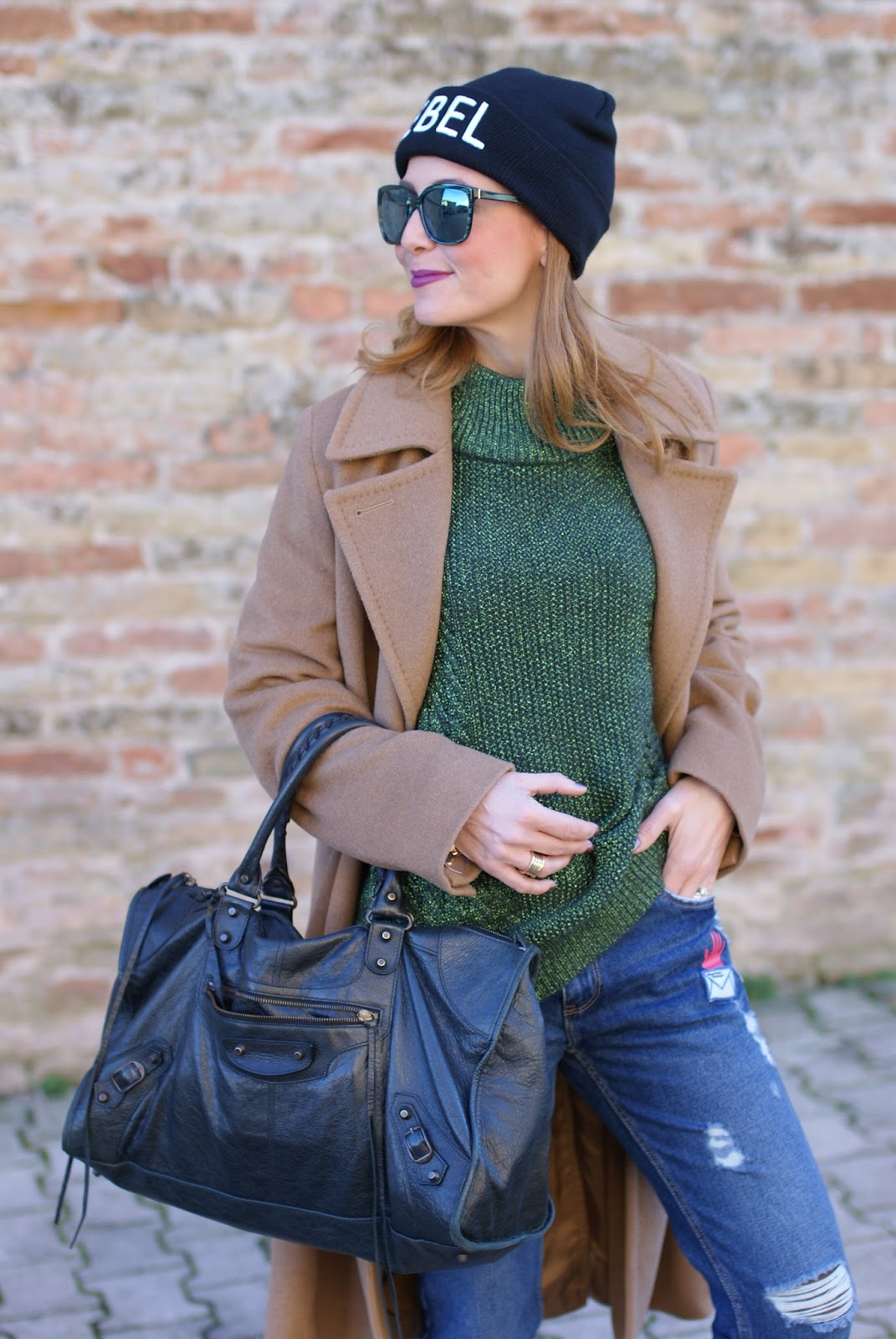 Frayed hem patched jeans and camel maxi coat with rebel beanie on Fashion and Cookies fashion blog, fashion blogger style