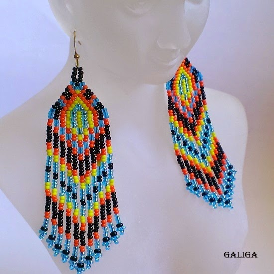 ethnic style beaded jewelry-blue motives seed bead earrings-earrings with fringe
