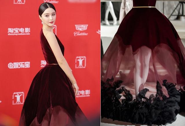 Phần chân váy đính vải cầu kỳ.