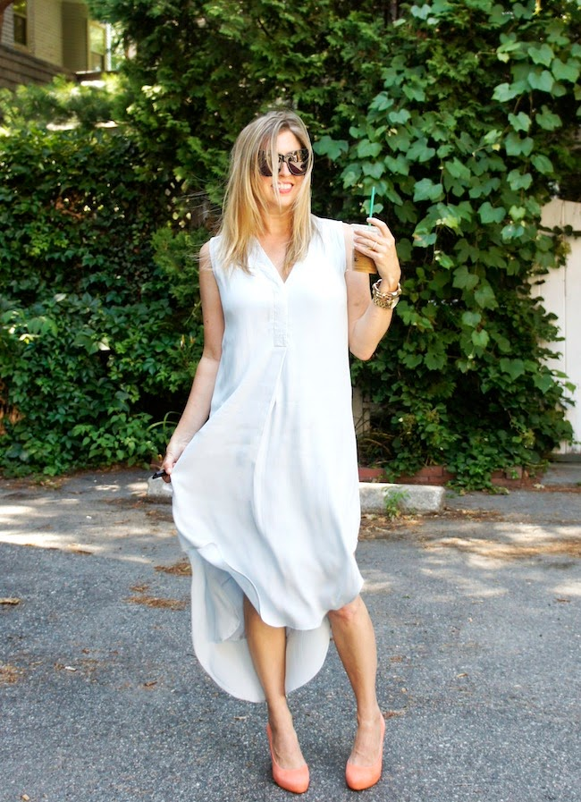 CAbi Breeze Dress, Rockport Seven to 7 pumps in melon, House of Harlow 1960 cat eye sunglasses, boston fashion blogger