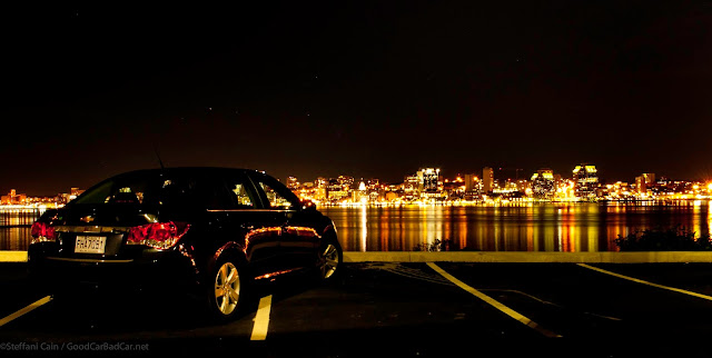 2014 Chevrolet Cruze Diesel rear view Halifax skyline night
