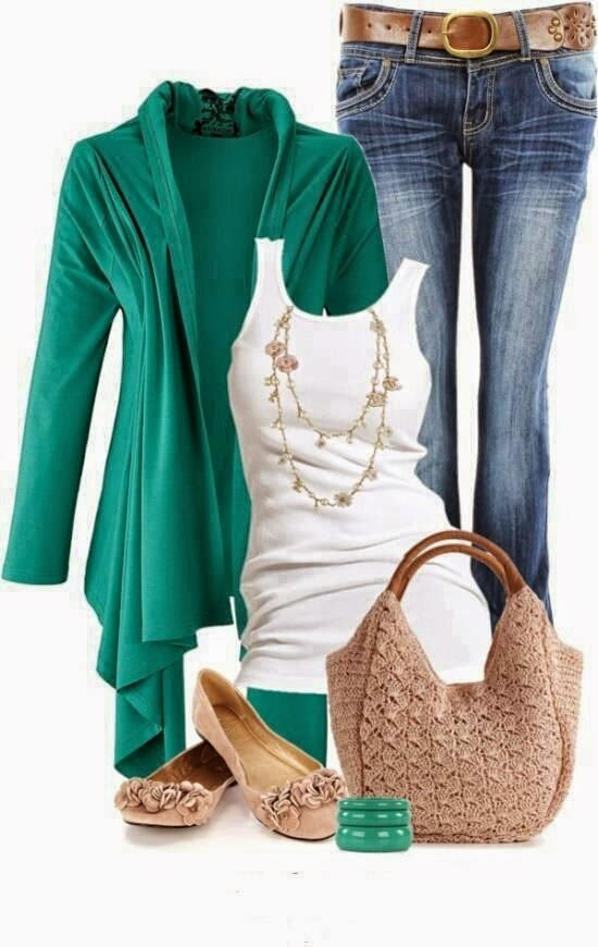 I love loose fitting sweaters with tanks. These colors are perfect together. And tan shoes are perfect with the outfit.  See more http://worldcutefashion.blogspot.com/