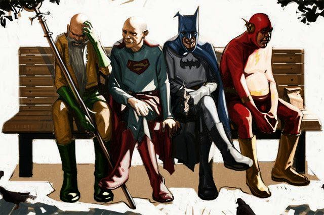 superheroes old aged retired batman superman flash aqua man