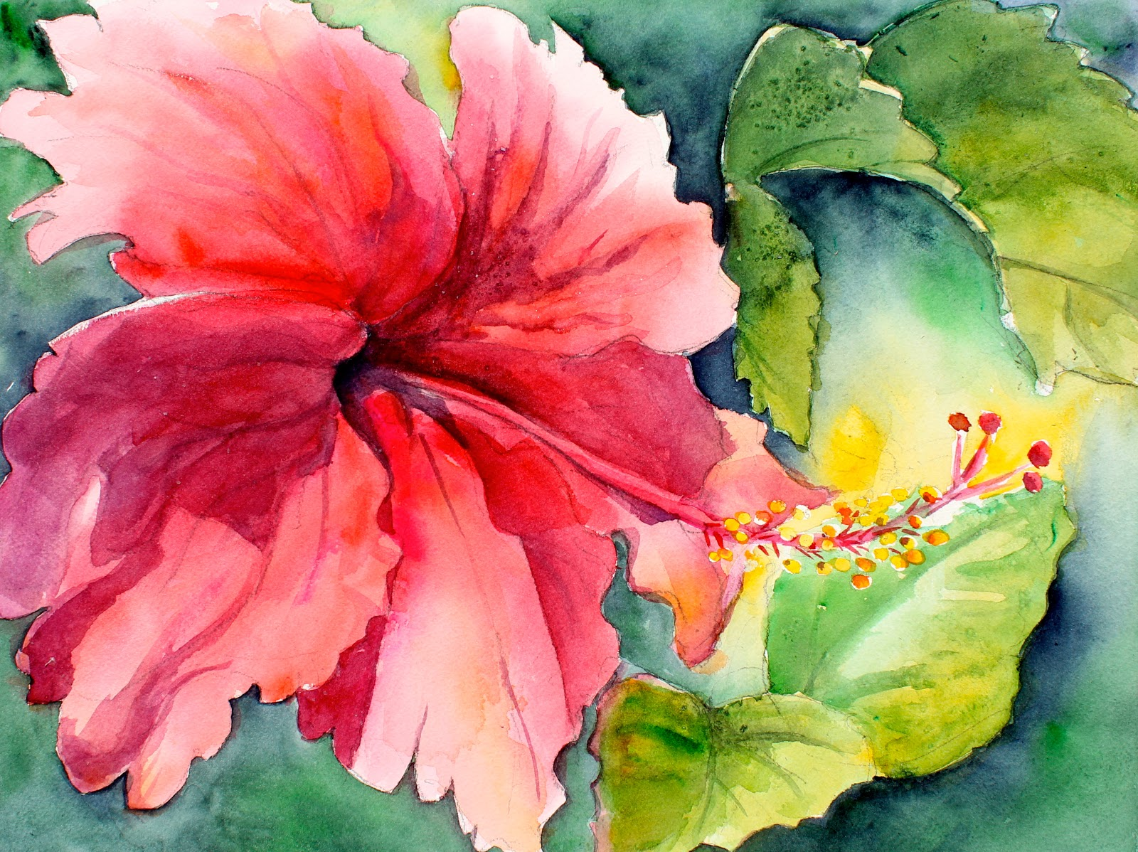 Large Hibiscus Exploring Watercolor