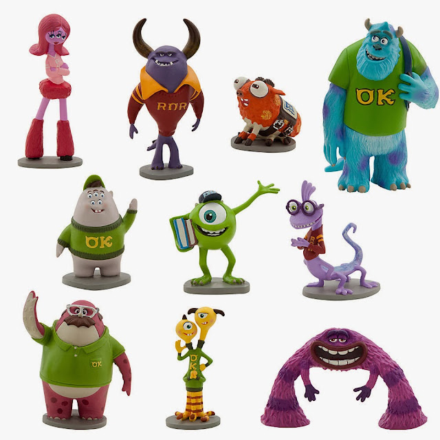 set completo figuras monstruos university disney store
