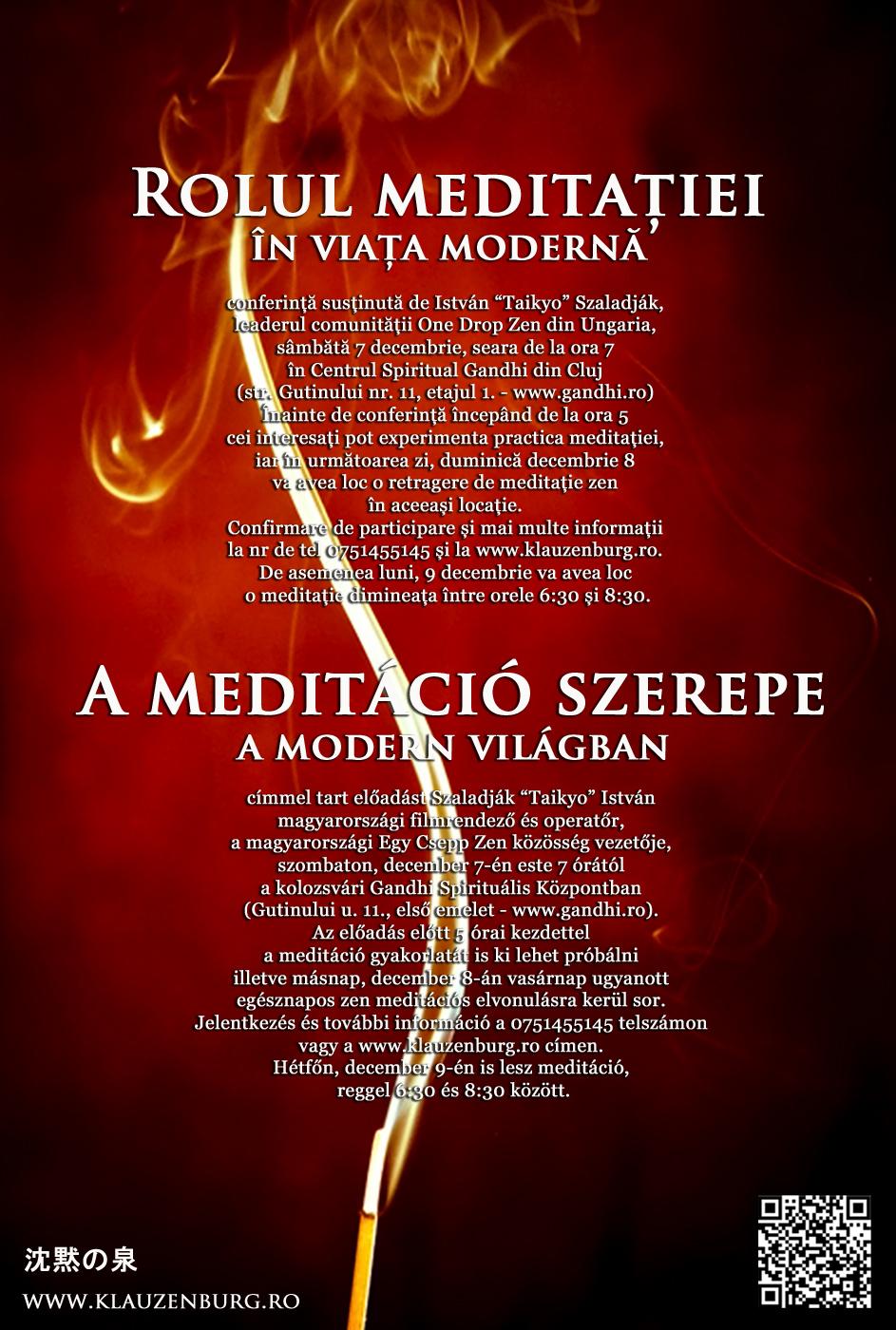 Cluj-Napoca, meditation, retreat, zazen, zen, Szaladjak Taikyo Istvan, One Drop Zen,