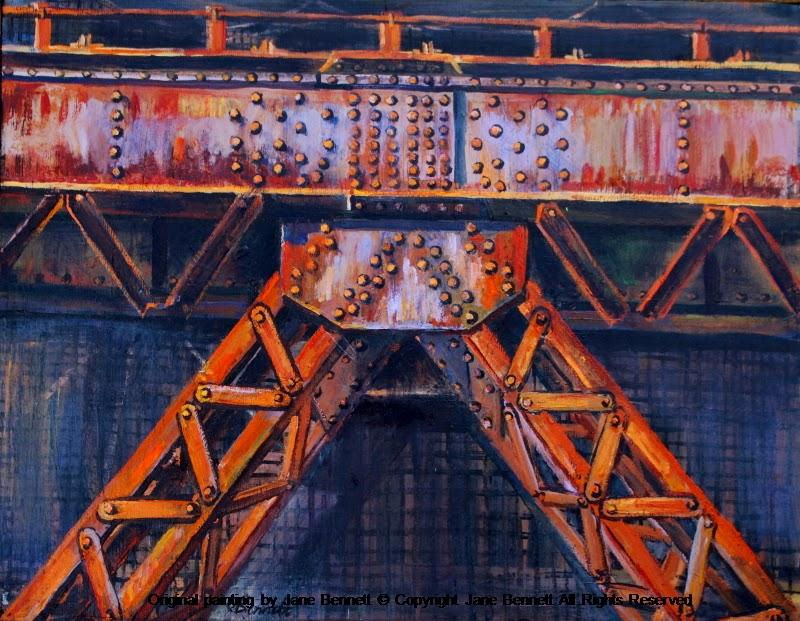 plein air painting of the now demolished Hammerhead Crane on Garden Island by industrial heritage artist Jane Bennett