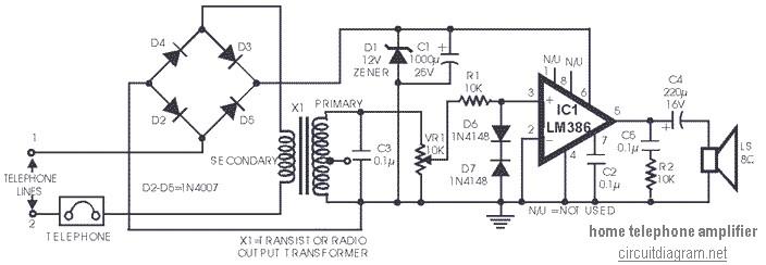 sch ma amplificateur t l phonique l 39 aide lm386. Black Bedroom Furniture Sets. Home Design Ideas