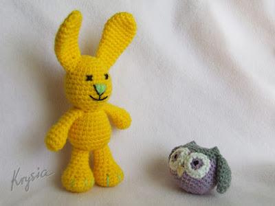 szydełkowe maskotki crochet owl and bunny