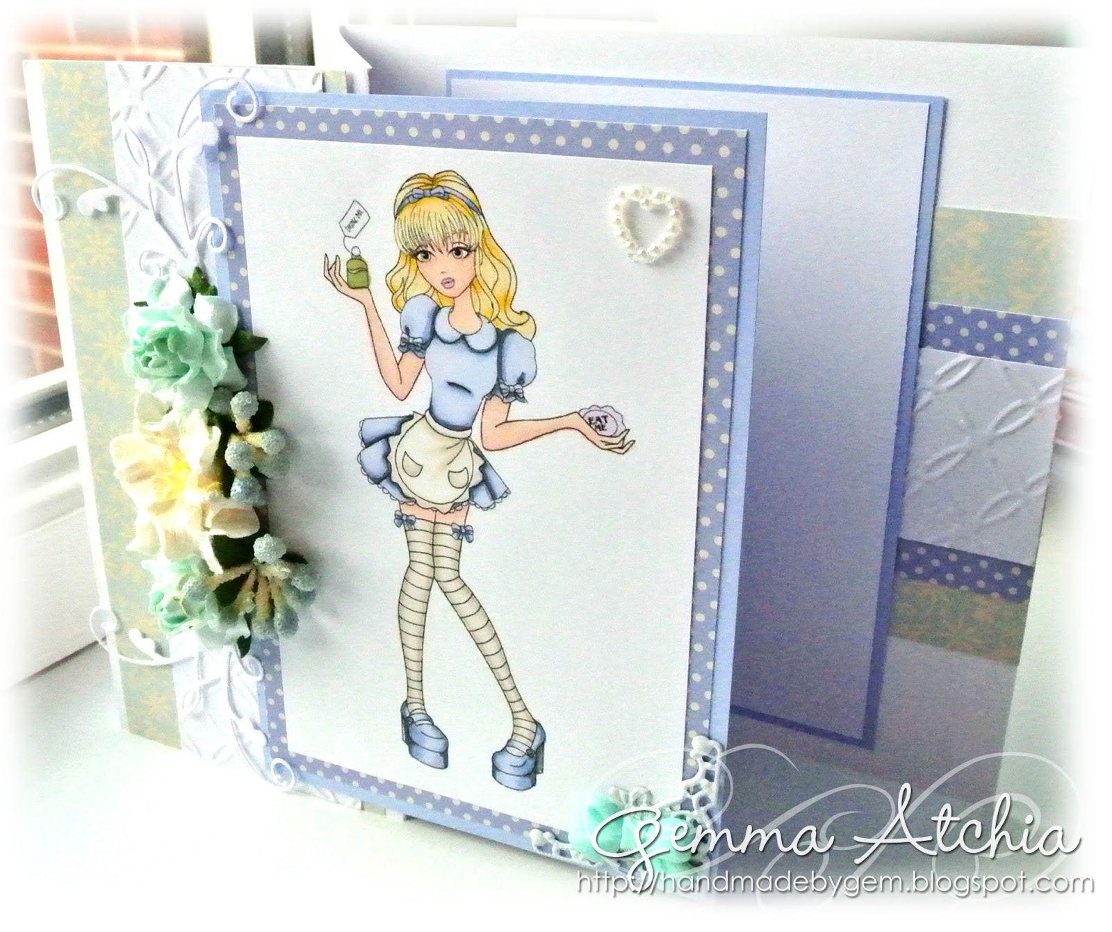 sassy stamps, flowers, promarkers, pearl heart, alice in wonderland