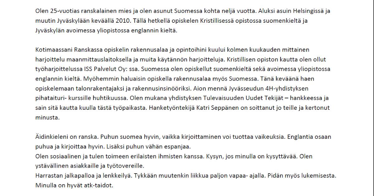 työhakemus word Hameenlinna