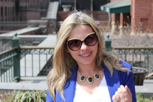 Blue and Gold Necklace from Carolee and Angled Enamel Sunglasses from MARC by Marc Jacobs