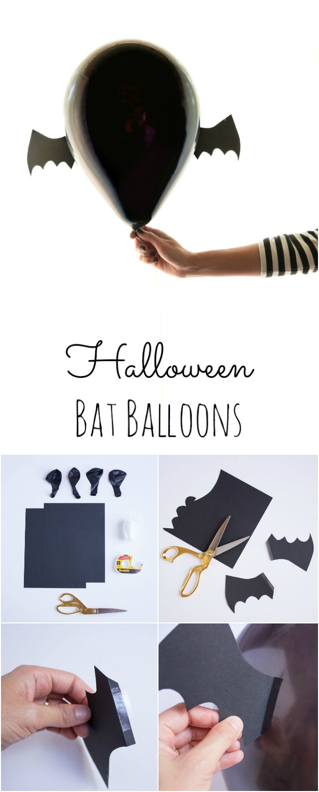 Transform black balloons into bats for your Halloween party! || Design Improvised blog