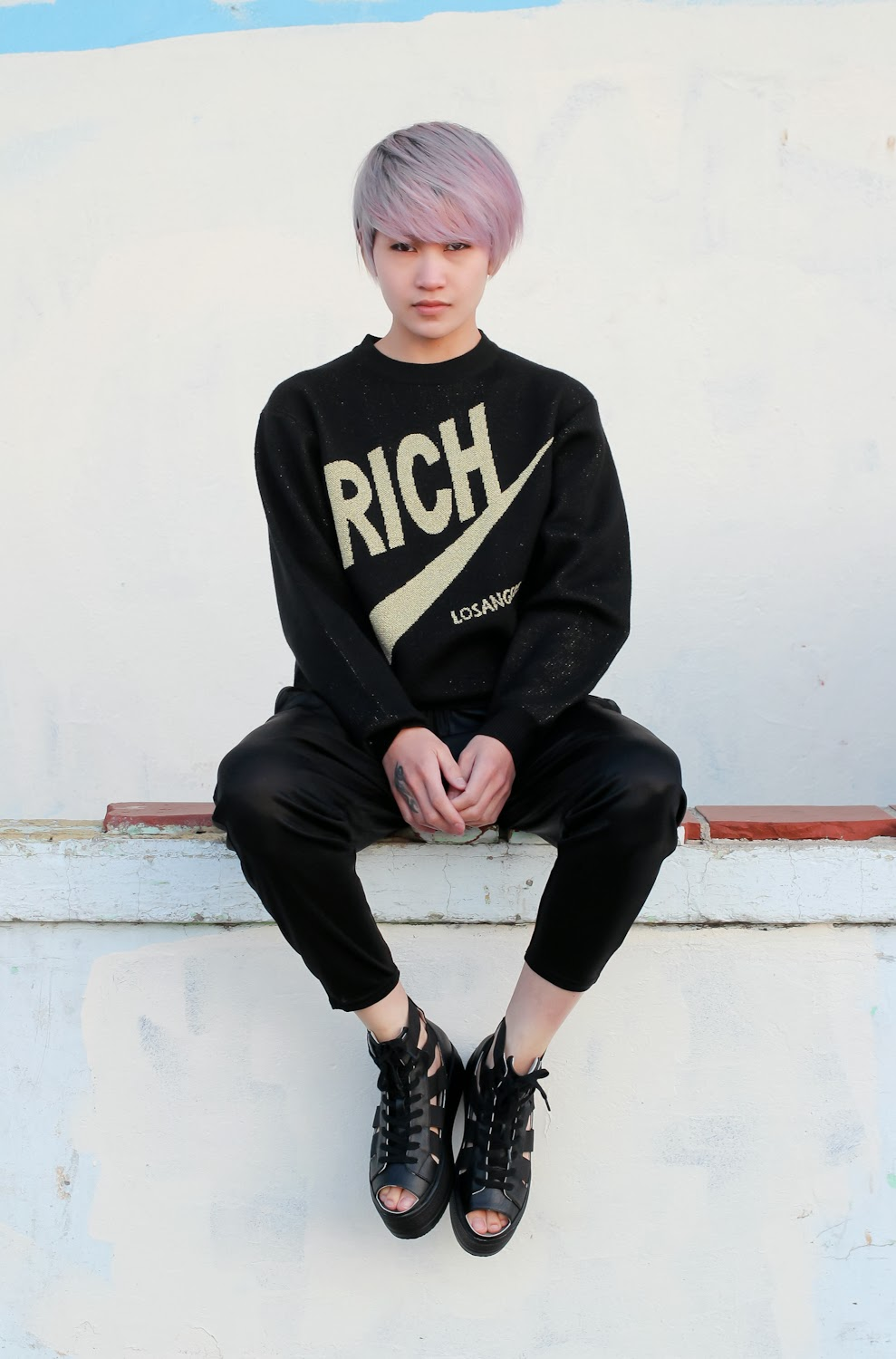 Joyrich Rich Sweater, Lucca Couture Metallic Harem Pants, Fessura Double Star High-Top Platform Sneakers