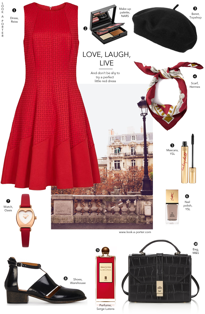 Inspired by Parisian style and beautiful red dress... Via look-a-porter.com, outfit inspiration daily