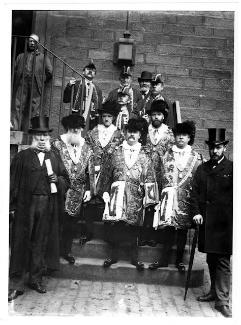 Sherriff's Court, Edinburgh. The Sherriff's attendants in full regalia.