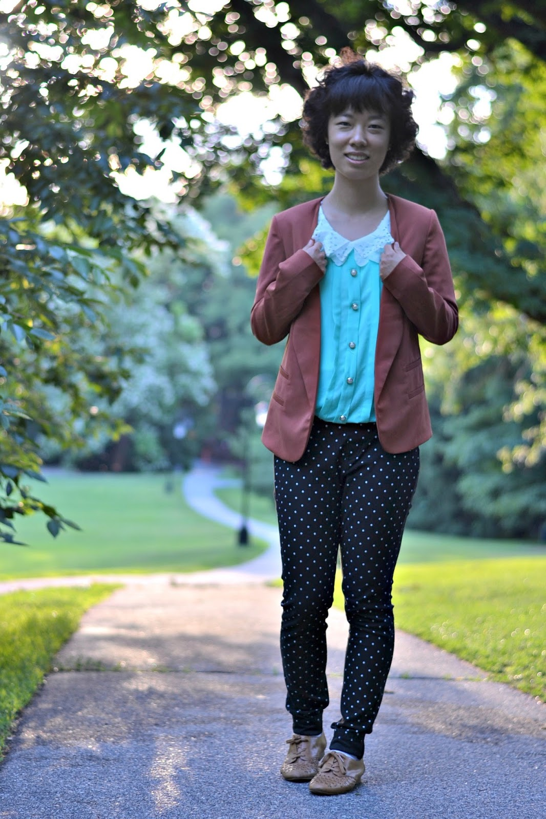 brown forever 21 blazer, peter pan collar mint top, polkadot pants