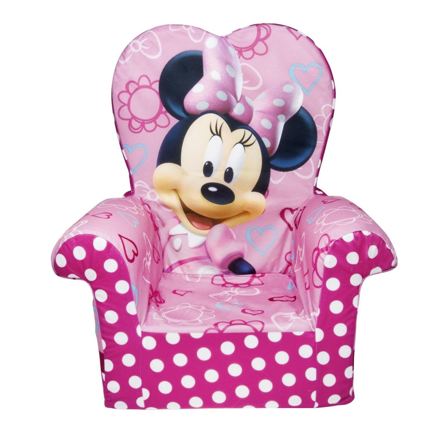 Pink Minnie Mouse Foam Chair With Heart Shaped Back