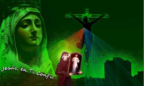 divina misericordia en cuadro , santa faustina, madre de dios aparecen en foto