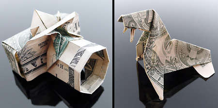 Origami Money Camera And Walrus 3D