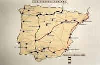 Mapa calzadas romanas. España.
