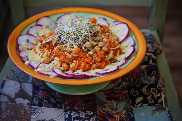carrot couscous with sprouted beans