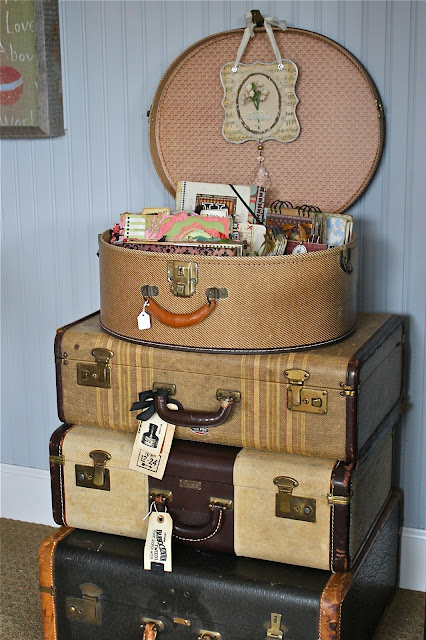 Our hopeful home decorating with vintage suitcases - Vintage suitcase ...