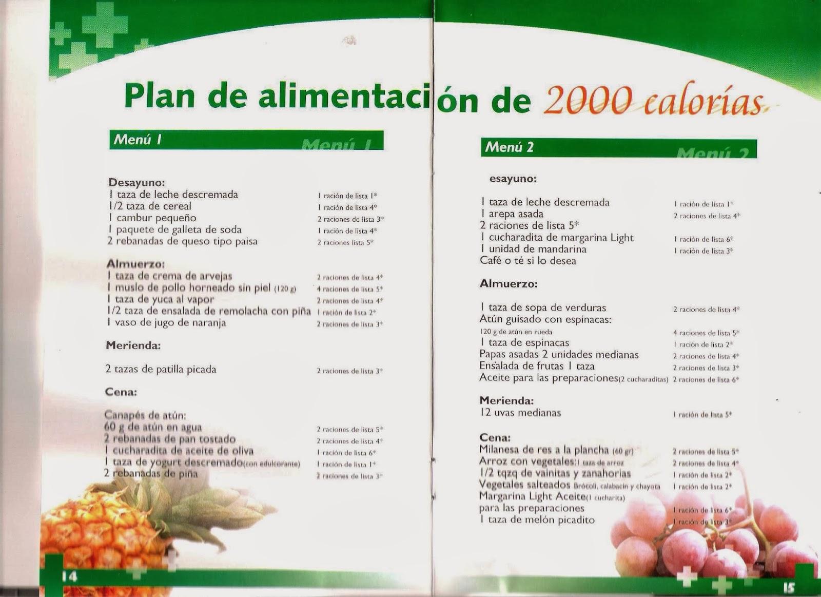 Plan de alimentación de 2000 calorías
