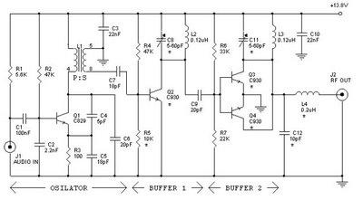 12 watt FM Transmitter circuit
