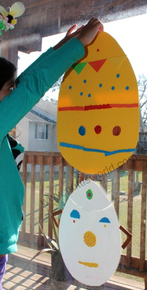 Decorating Foam Easter Eggs On The Window