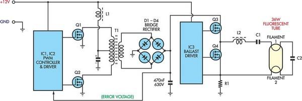 12V Flourescent Lamp Inverter   Xtreme Circuits