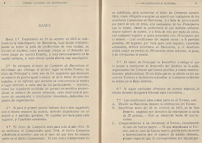 Páginas 4 y 5 del libro del Torneo de Ajedrez para el Campeonato de Barcelona de 1913